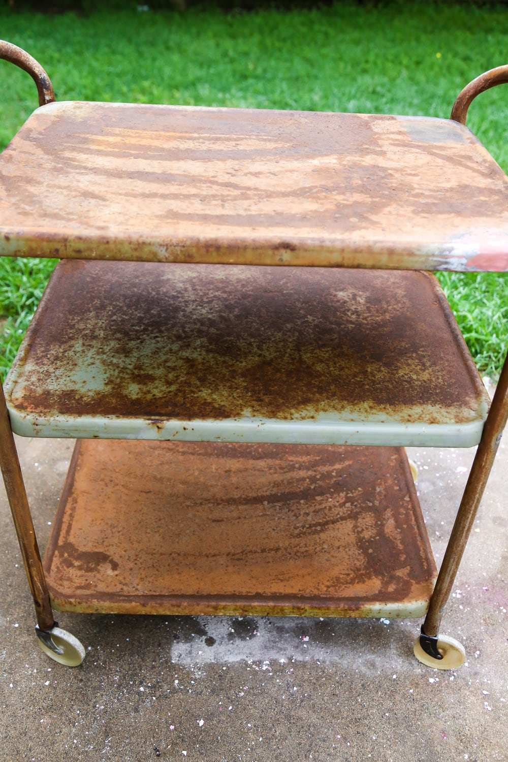 DIY Backyard Bar Cart - How to Transform Rusty Furniture