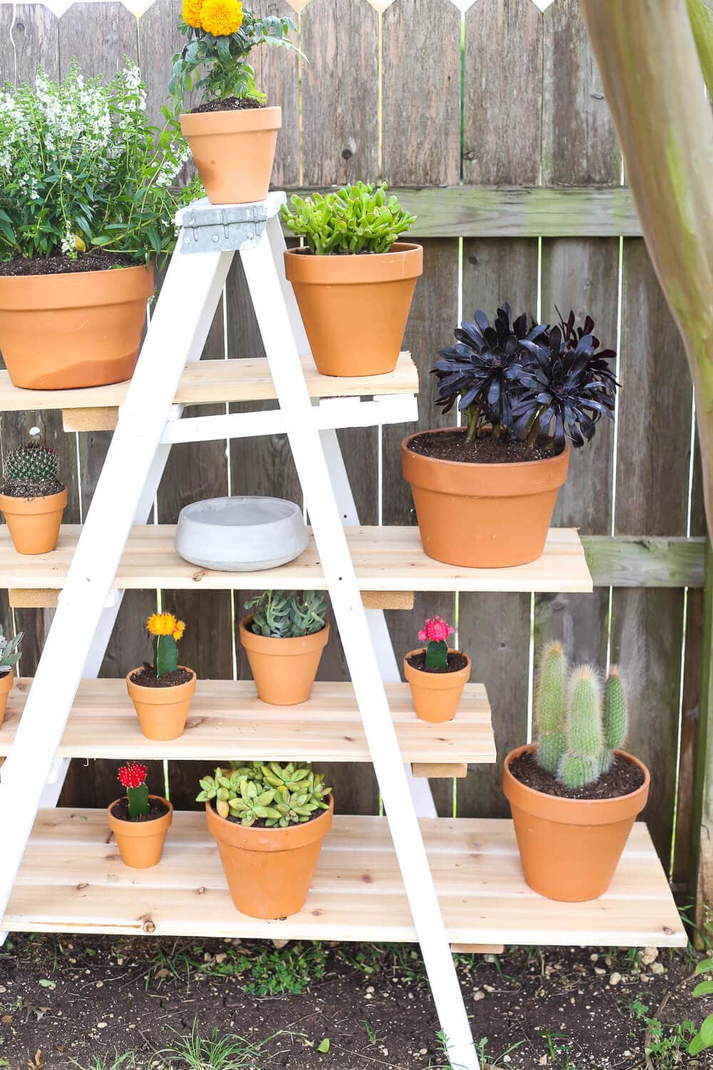 Diy Tiered Plant Stand From An Old Ladder Love Amp Renovations