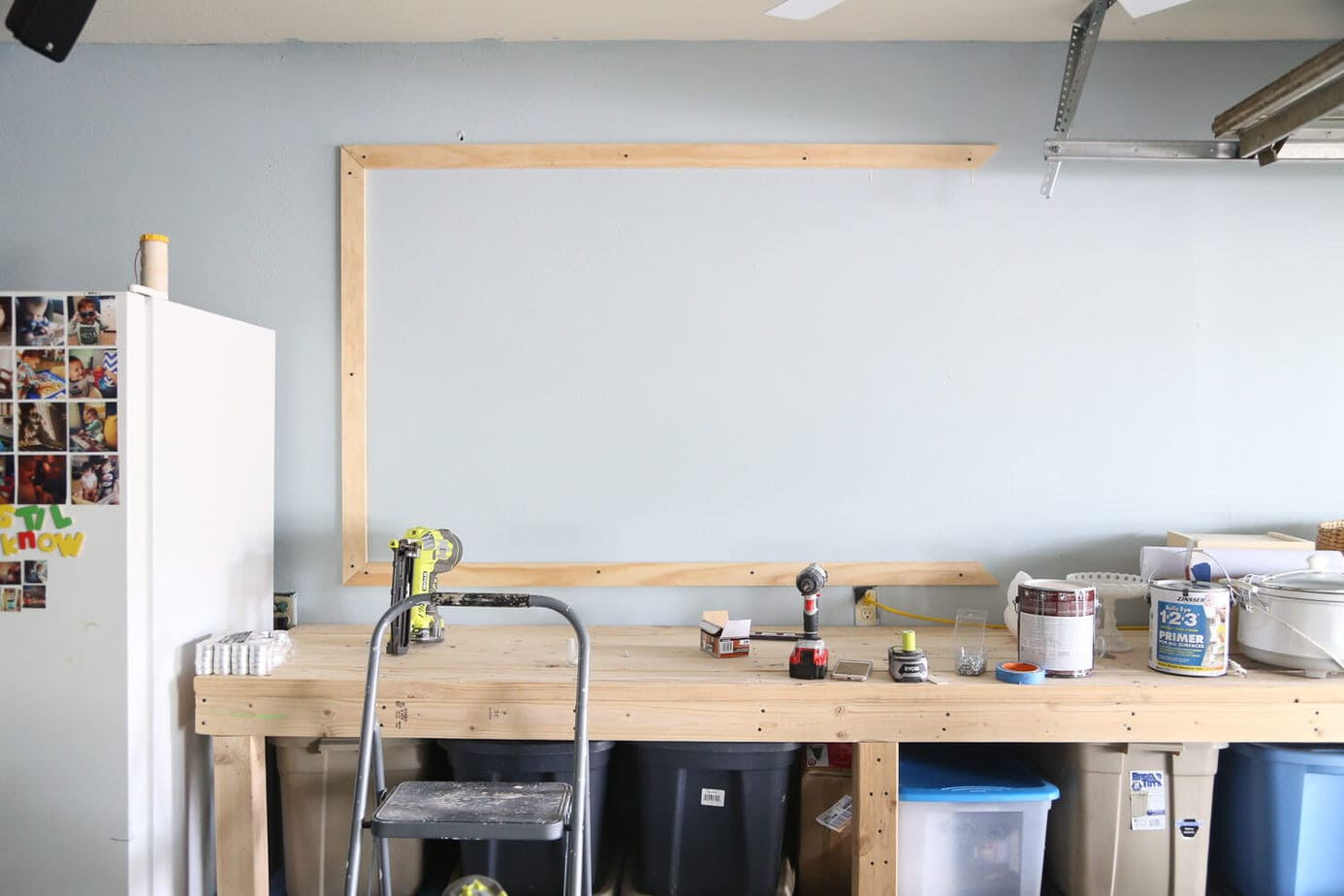 three boards on wall for chalkboard frame