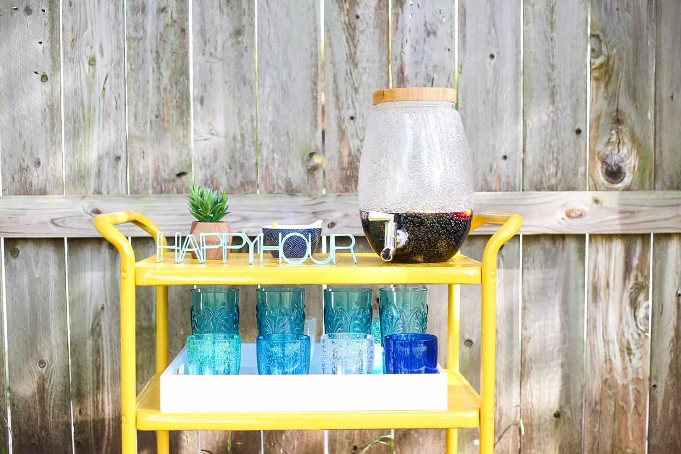 yellow painted bar cart - how to paint furniture