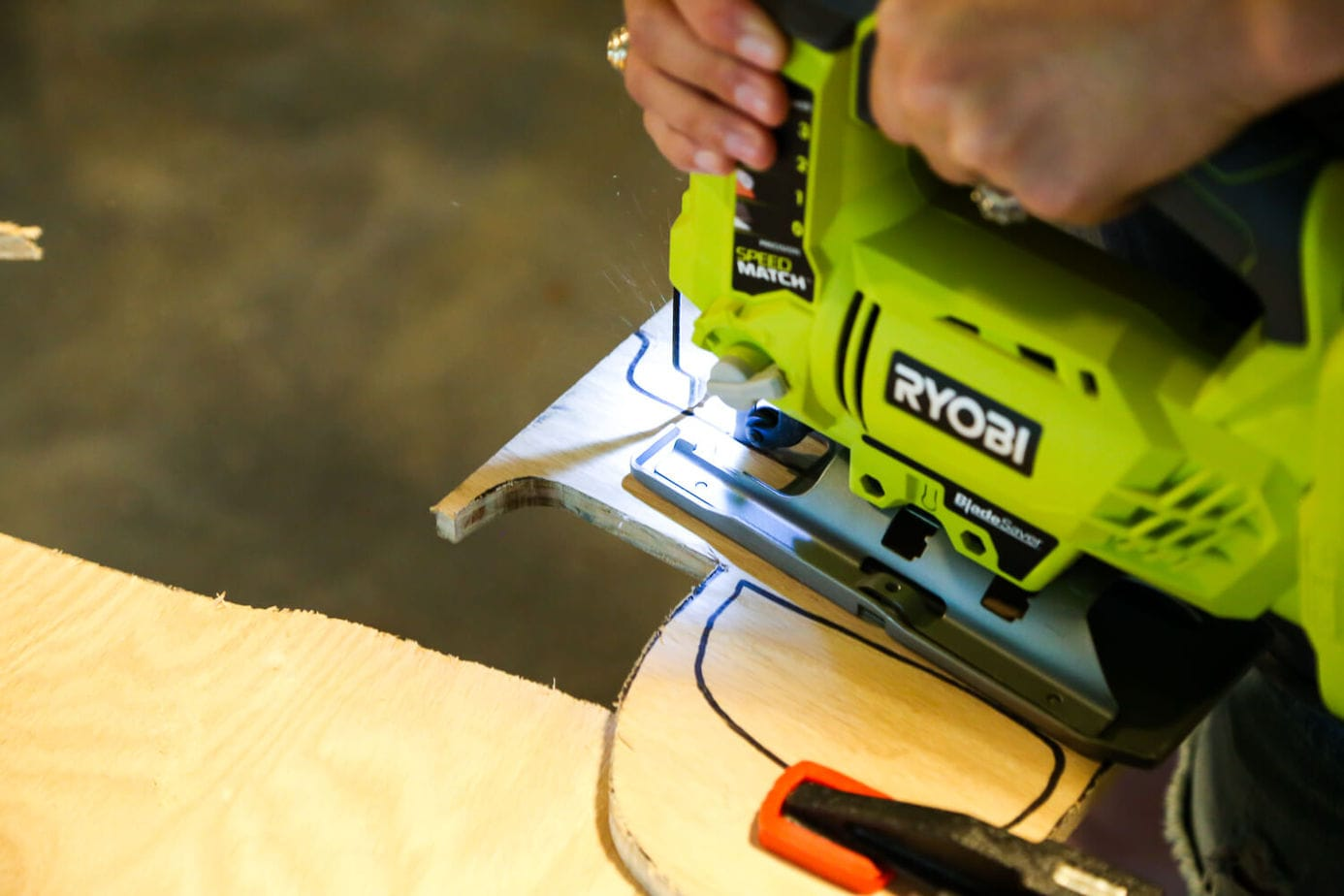 close up of a Ryobi jigsaw being used