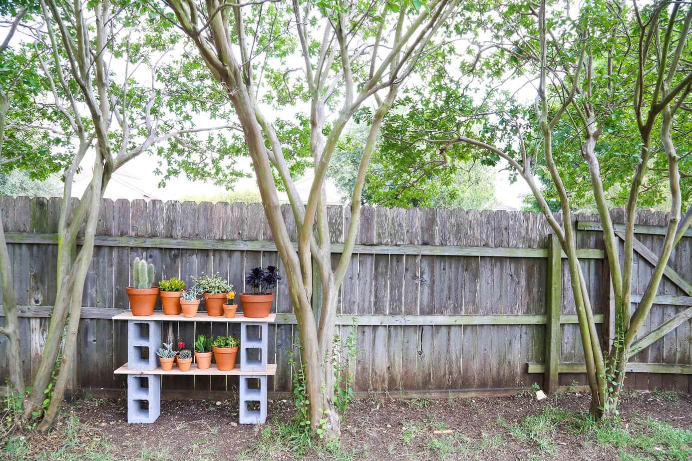 Outdoor cinder block shelves