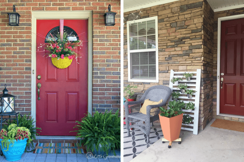 Ideas for decorating a small porch or front entry. Easy DIY projects and fun ideas for how to decorate your front porch.