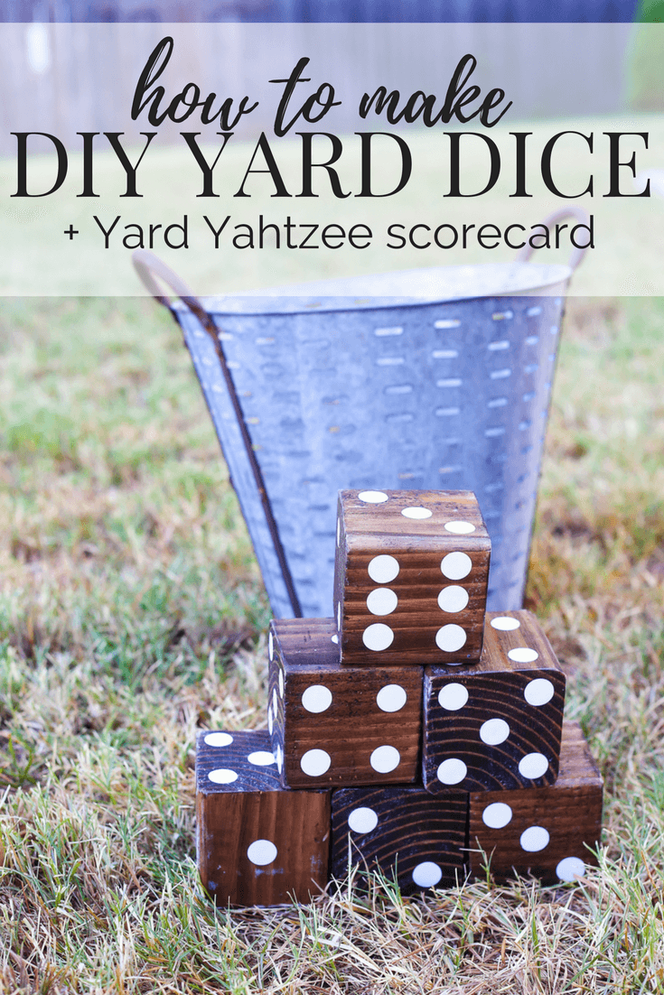 DIY wooden yard dice - How to make your own wood lawn dice, perfect for a back yard barbeque, tailgate party, beach day, or other outdoor summer gathering. Post includes a free Yard Yahtzee scorecard download!