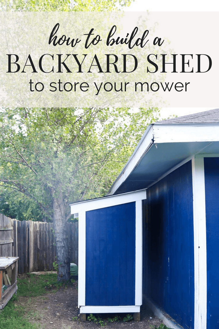 A quick and easy tutorial for building a DIY lawn mower shed for your backyard. It's the perfect way to keep your lawn mower safe from the elements!