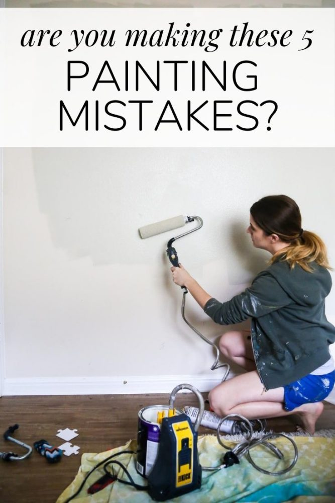 "woman painting a wall with text overlay - ""are you making these five painting mistakes?"""