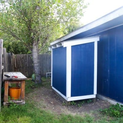 How to build an easy DIY lawn mower shed to store your yard tools.
