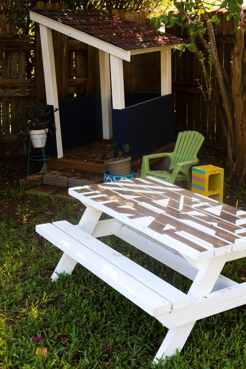 Diy Kids Picnic Table With A Geometric Painted Top Love