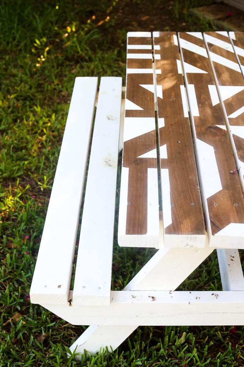 How to paint a geometric pattern on a DIY kids picnic table