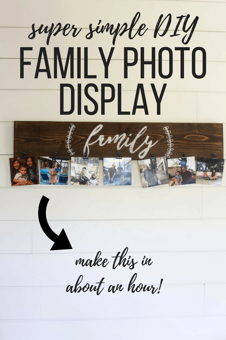 Ideas for a DIY photo display for your walls in your home. A unique project using a board and some clips or clothes pins to display pictures. A unique alternative to a frame for your family photos!