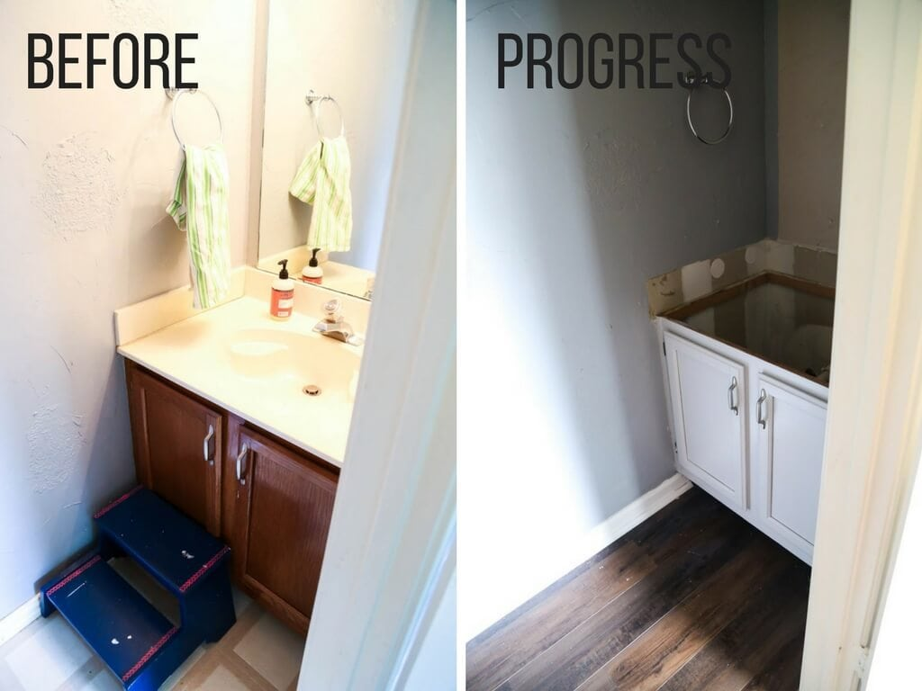 Quick before and after of painted cabinets in a bathroom