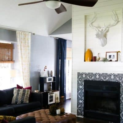 This fireplace makeover is absolutely incredible! The whole room looks different!