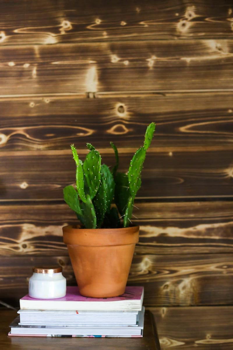 A gorgeous wood planked accent wall