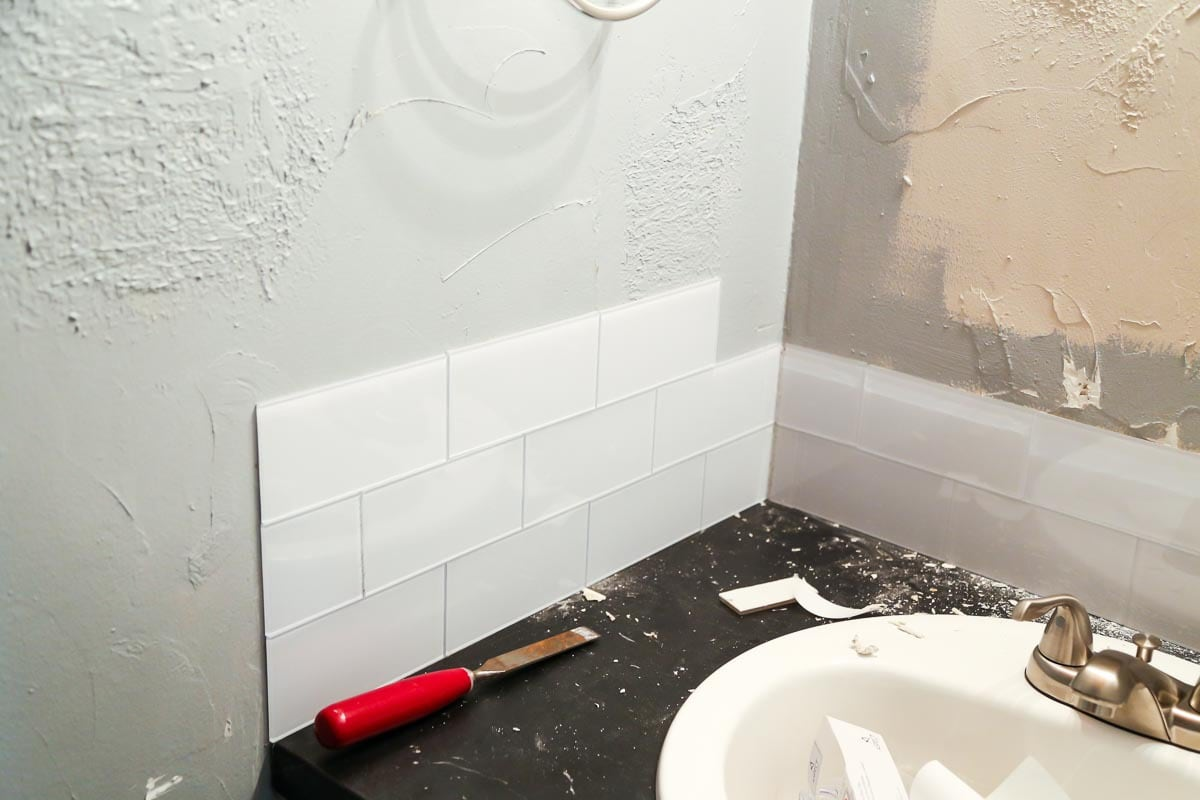 Using peel and stick tiles in a bathroom