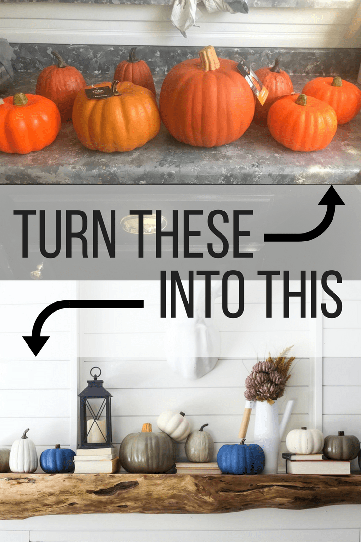 How to turn dollar store pumpkins into gorgeous DIY pumpkins that are painted to look like heirloom pumpkins. Gorgeous fall decor.