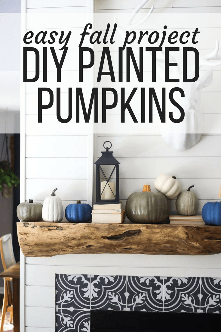 Adorable and easy fall decor - DIY pumpkins painted with spray paint to look like heirloom pumpkins.