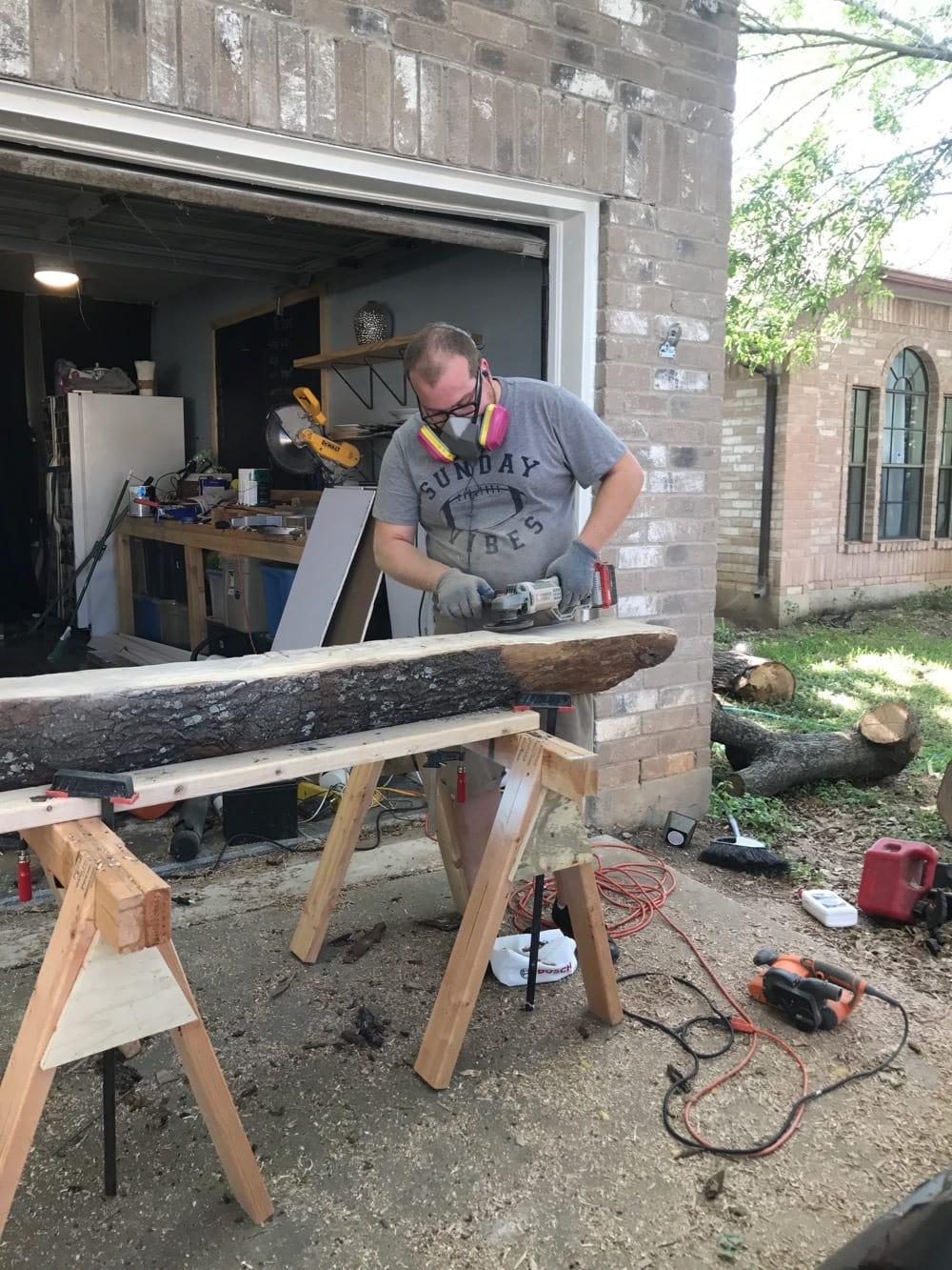Building a rustic DIY wood mantel