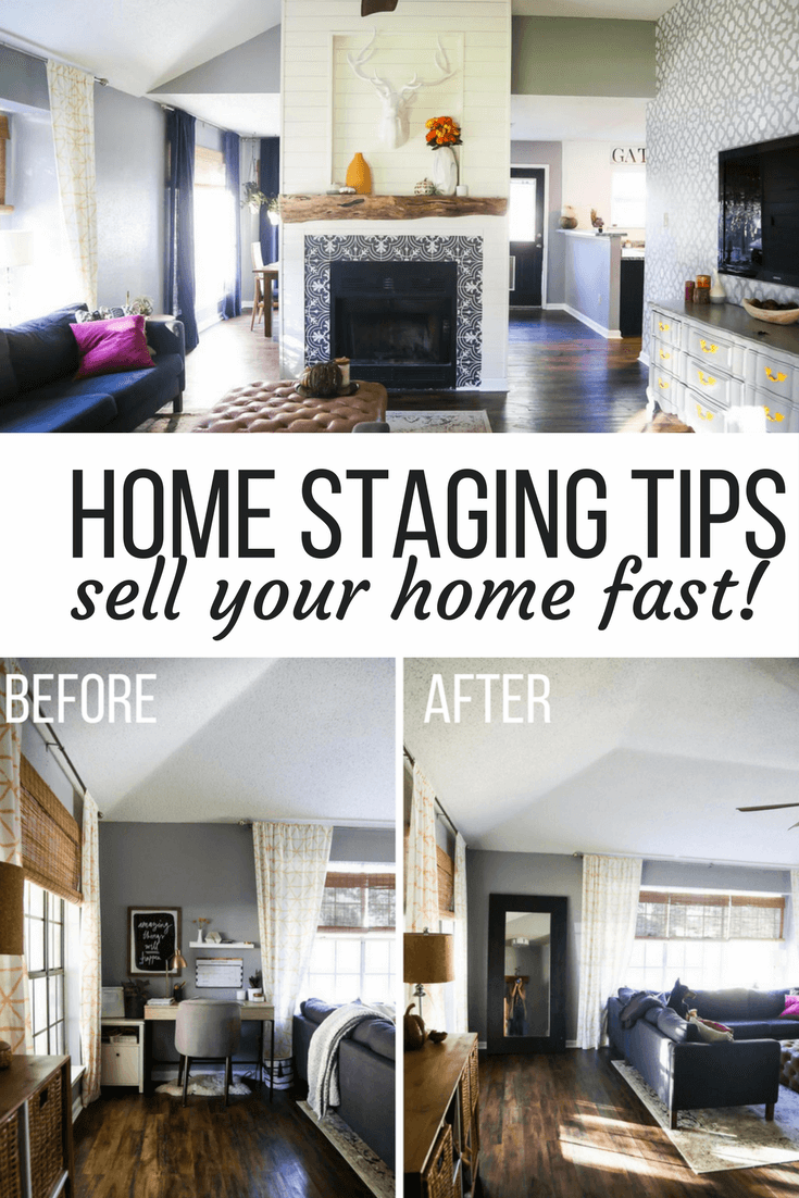 Ideas for how to stage your home to sell quickly. Free home staging tips on a budget and before and after photos of home staging.