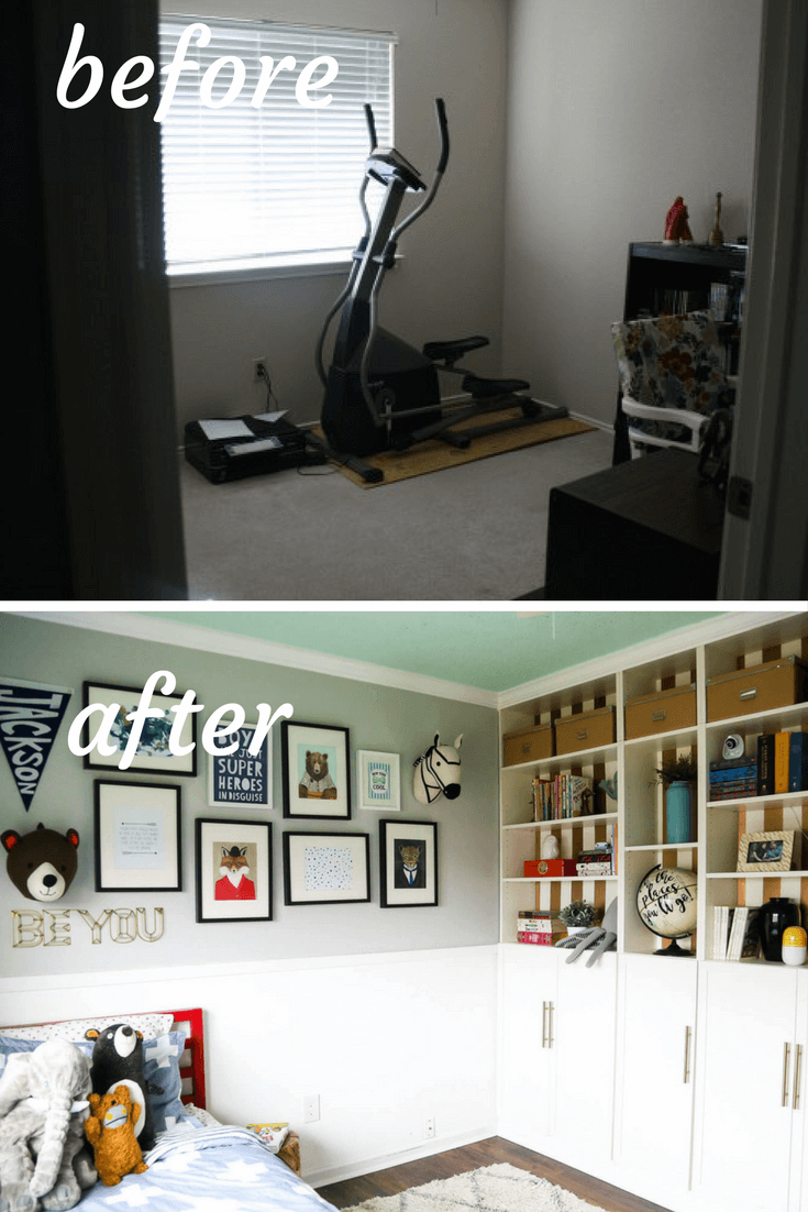 Before and after photos of gender neutral kid's room renovation. Turning a nursery into a big kid room