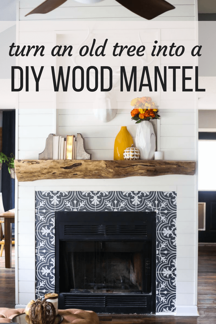 Our rustic gorgeous diy wood mantel love renovations how to build a diy wood mantel for your fireplace a great idea for a solutioingenieria Images