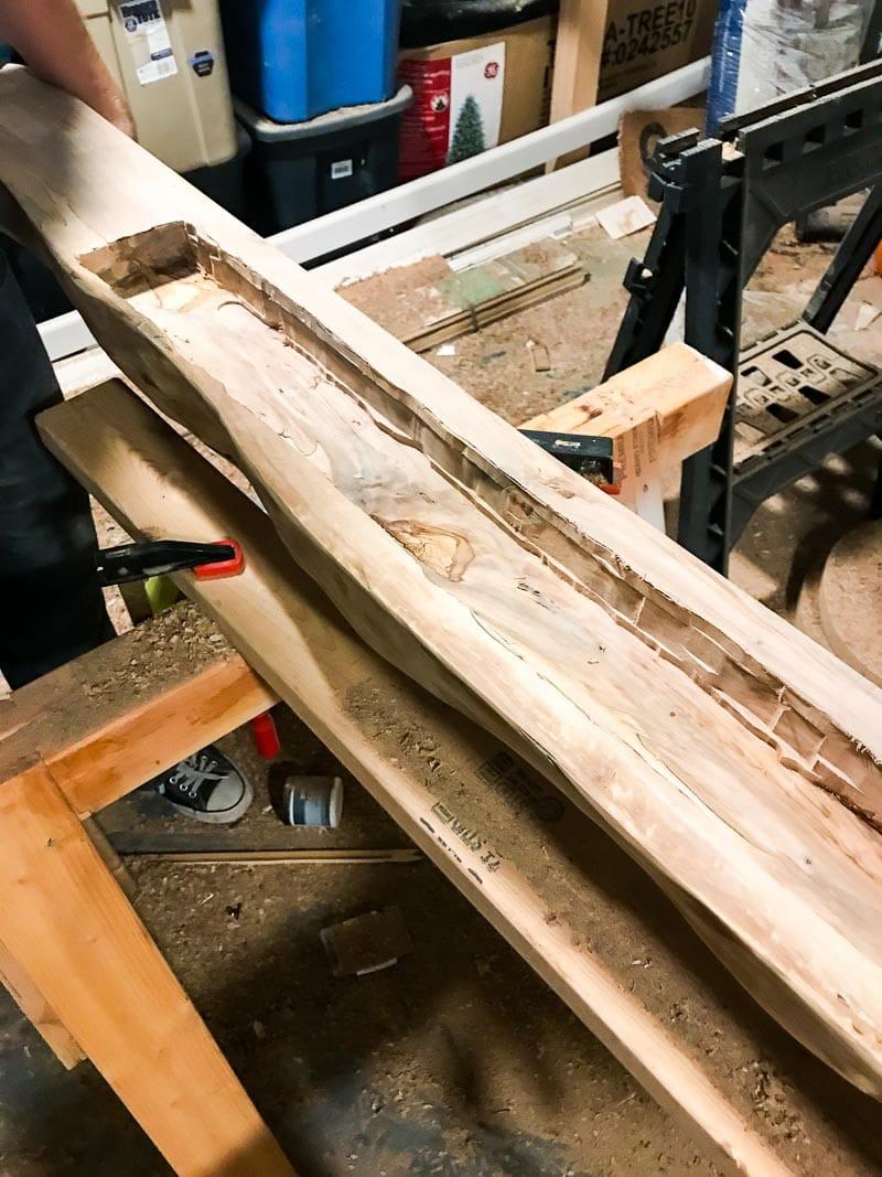 How to hang a DIY wood mantel