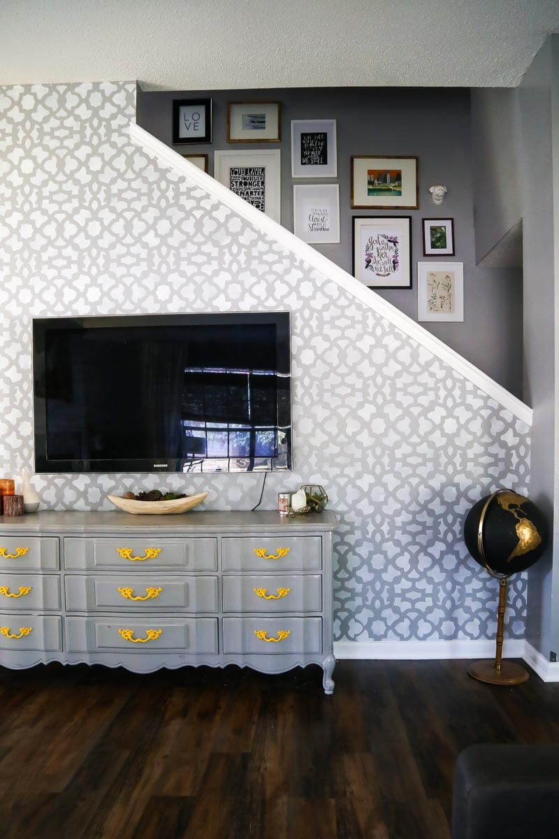 painted gray dresser with stenciled accent wall - how to paint furniture