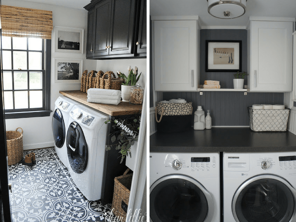 Laundry room ideas 12 ideas for small laundry rooms for Laundry room floor ideas
