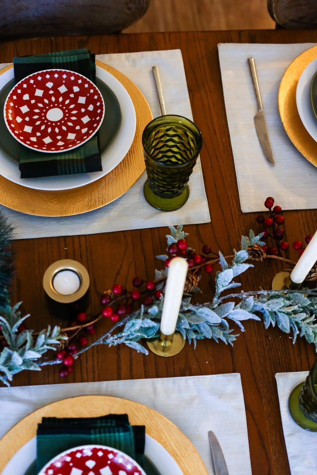 A traditional table setting for Christmas