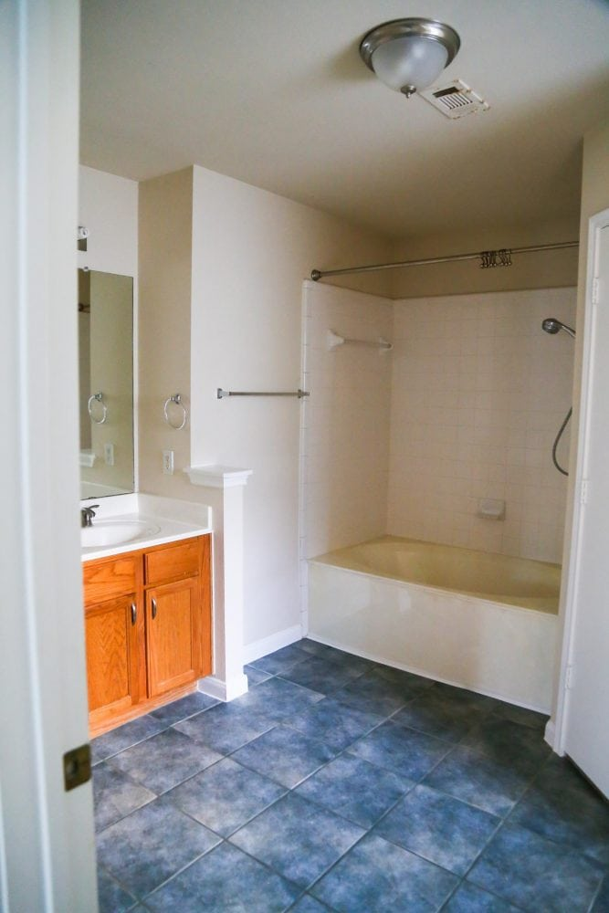 The master bathroom in the new house
