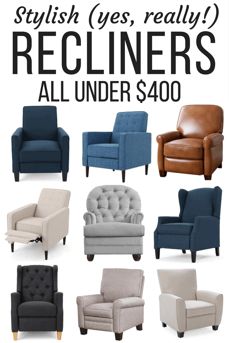 A roundup of affordable and stylish recliners for your home. Great ideas if you're looking for a cozy addition to your room without spending a ton of money!