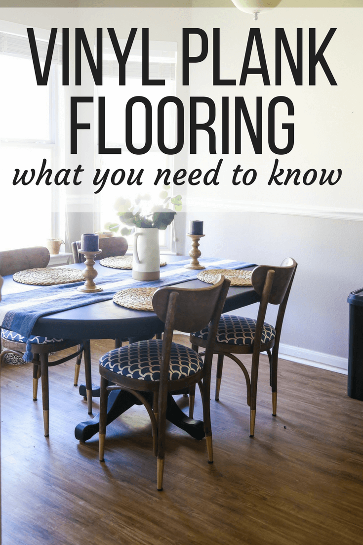 "dining room with Mohawk vinyl plank flooring and text overlay: ""Vinyl plank flooring - what you need to know"""