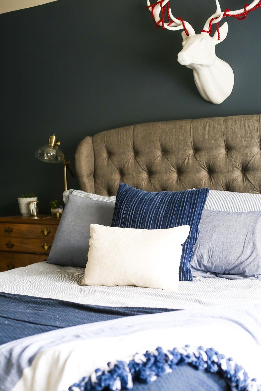 A cozy blue master bedroom