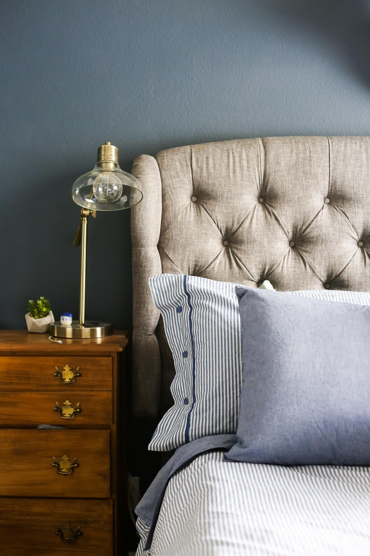 A beautiful navy blue master bedroom