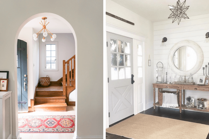 Adding a unique light fixture to an entryway