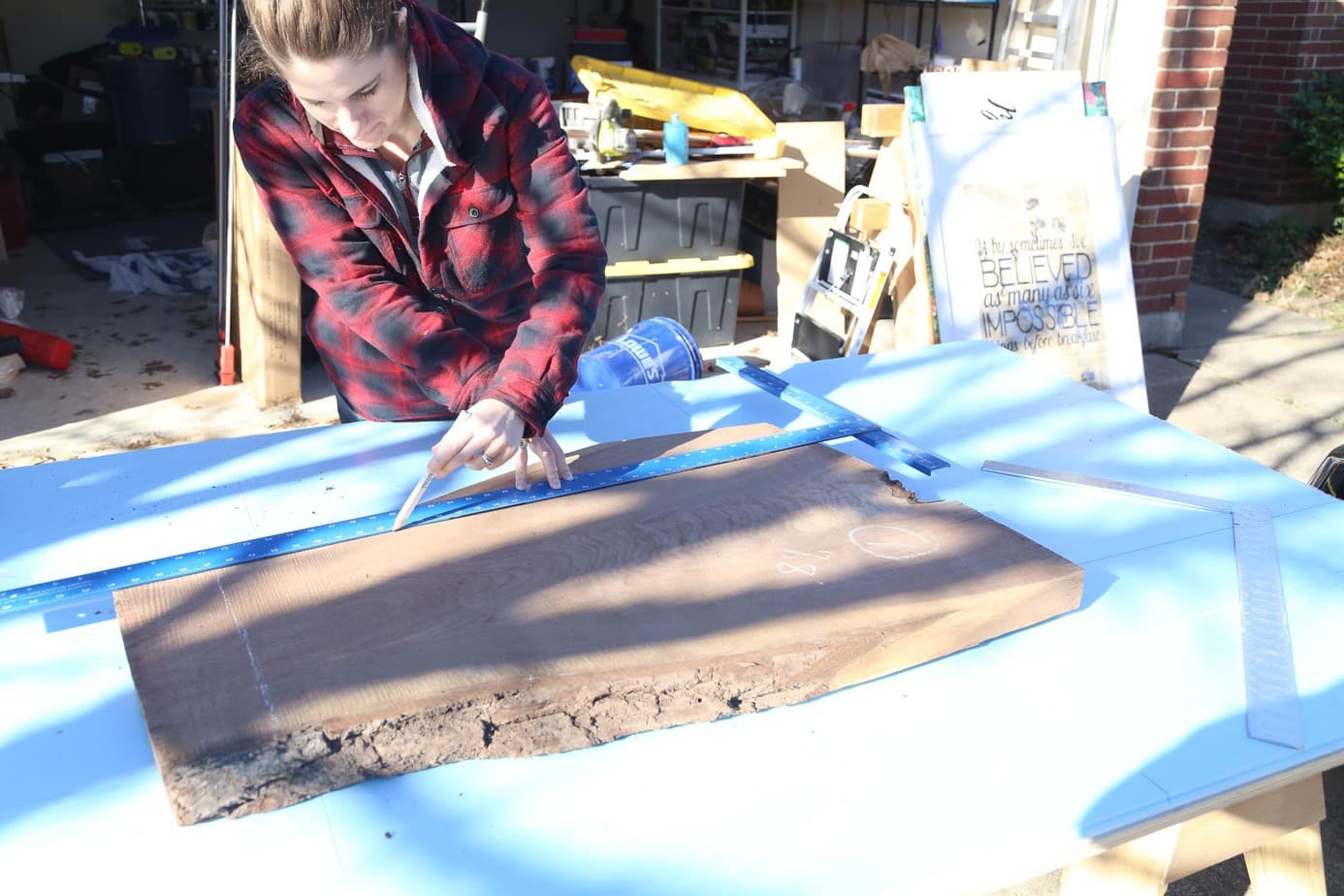 Cutting wood slab down for DIY console table