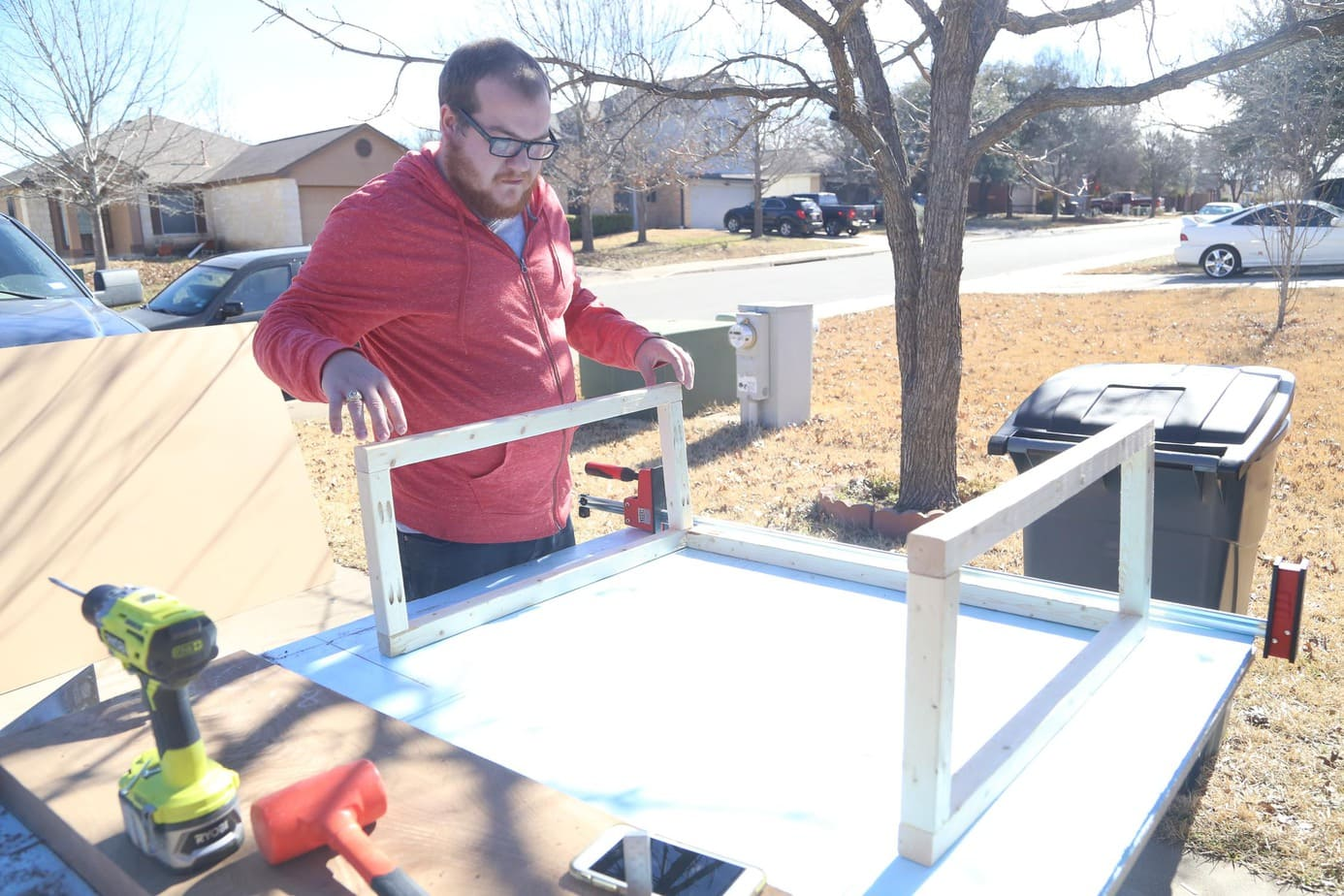 Constructing base of DIY entry table