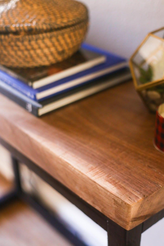 DIY console table with walnut slab top