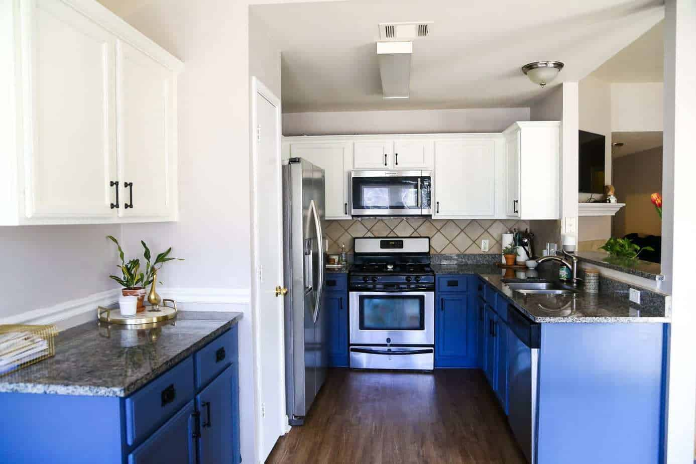 Our DIY Blue & White Kitchen Cabinets