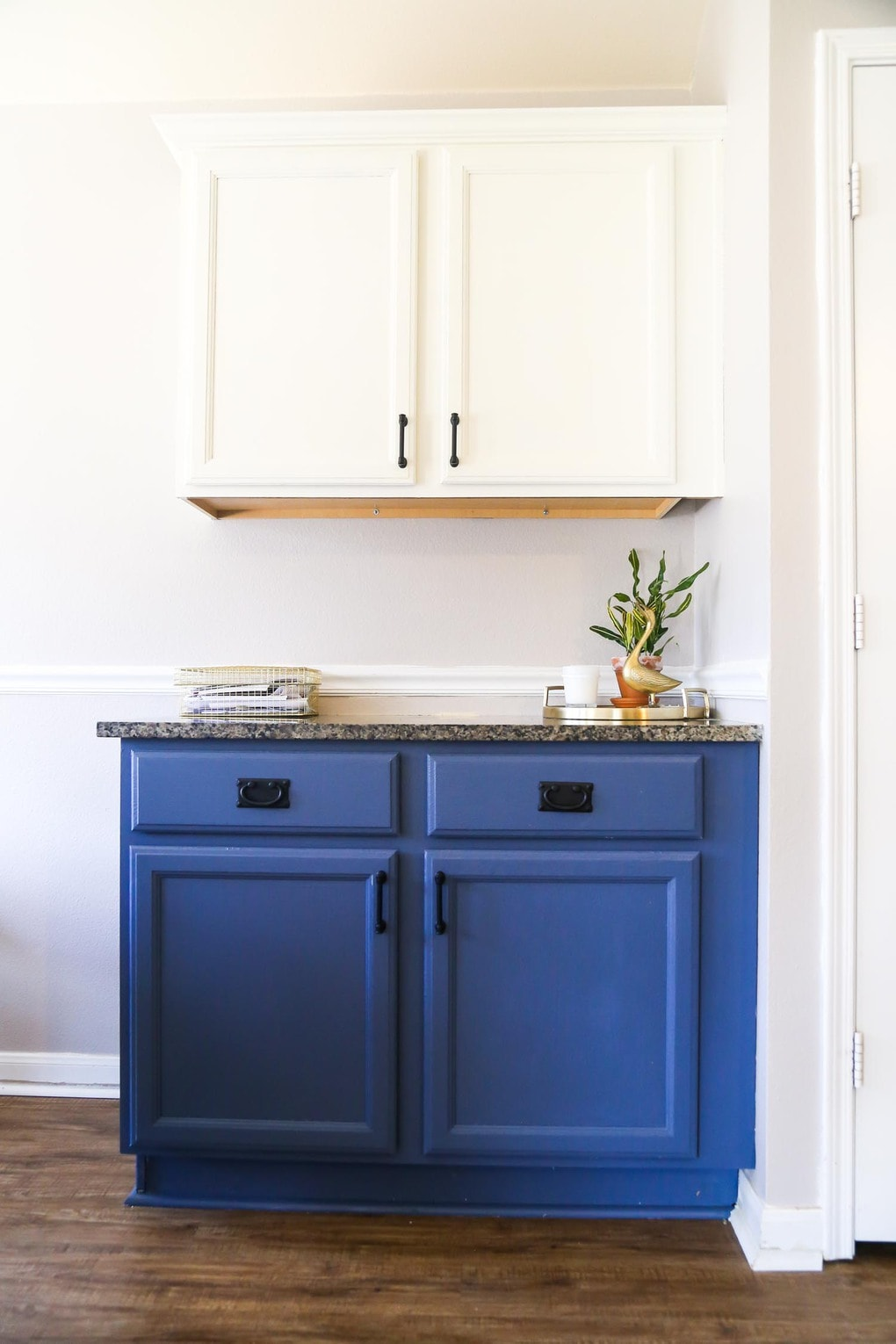 Our Diy Blue White Kitchen Cabinets Love Renovations