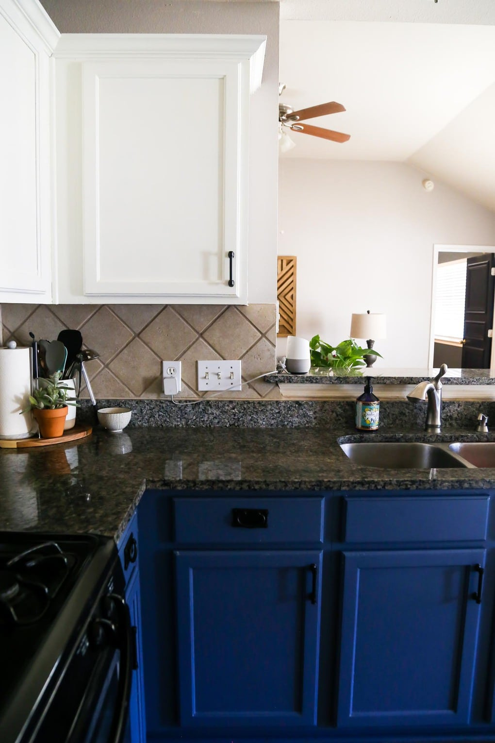 our diy blue & white kitchen cabinets - love & renovations