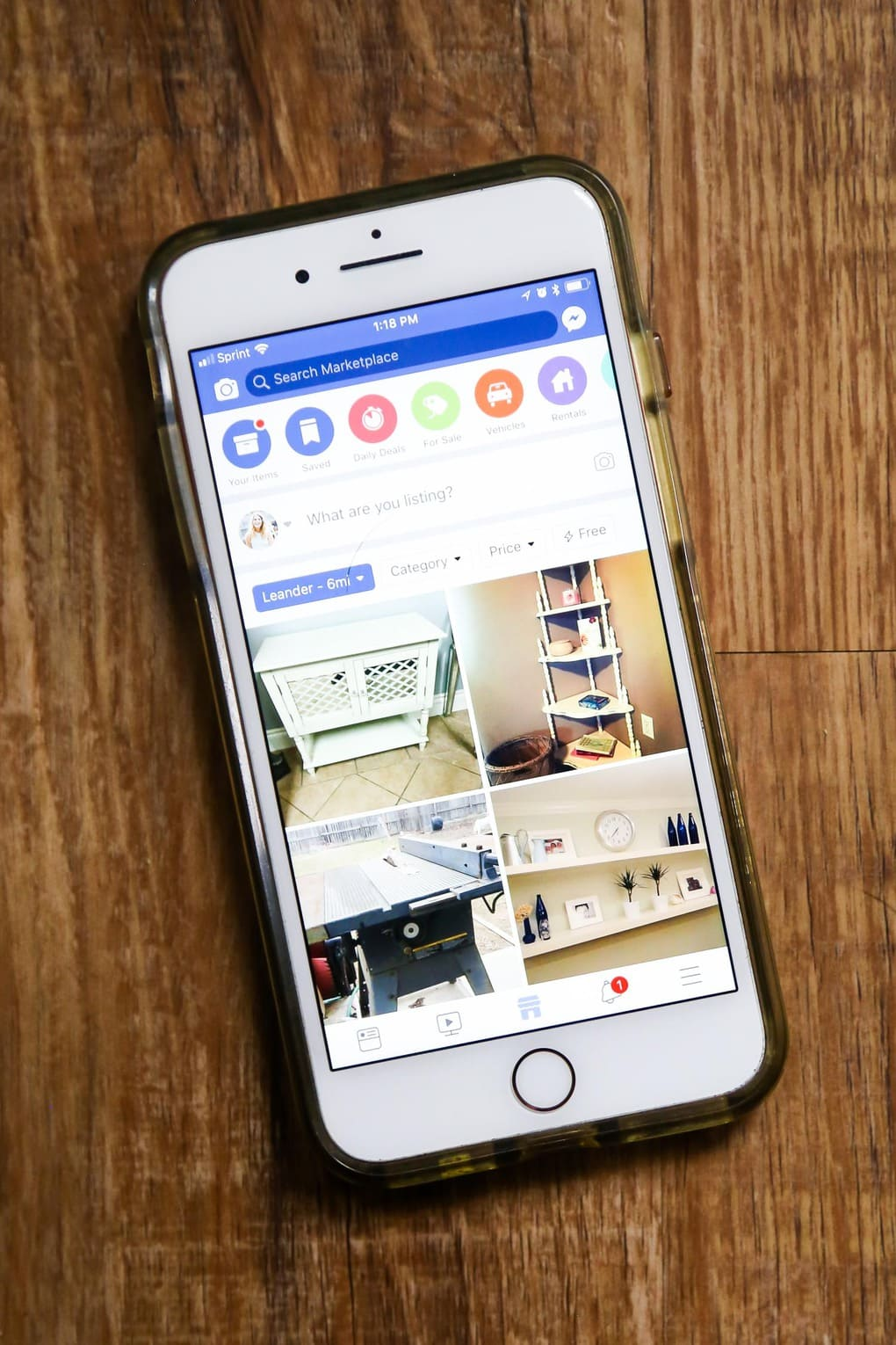 iPhone with Facebook Marketplace pulled up - how to sell furniture online using Facebook Marketplace