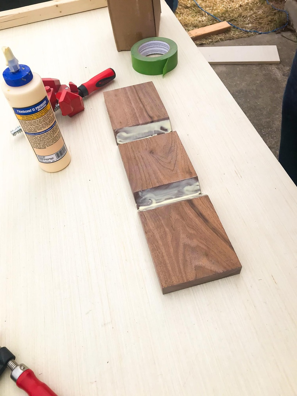 Sofa Arm Table Pieces Being Glued