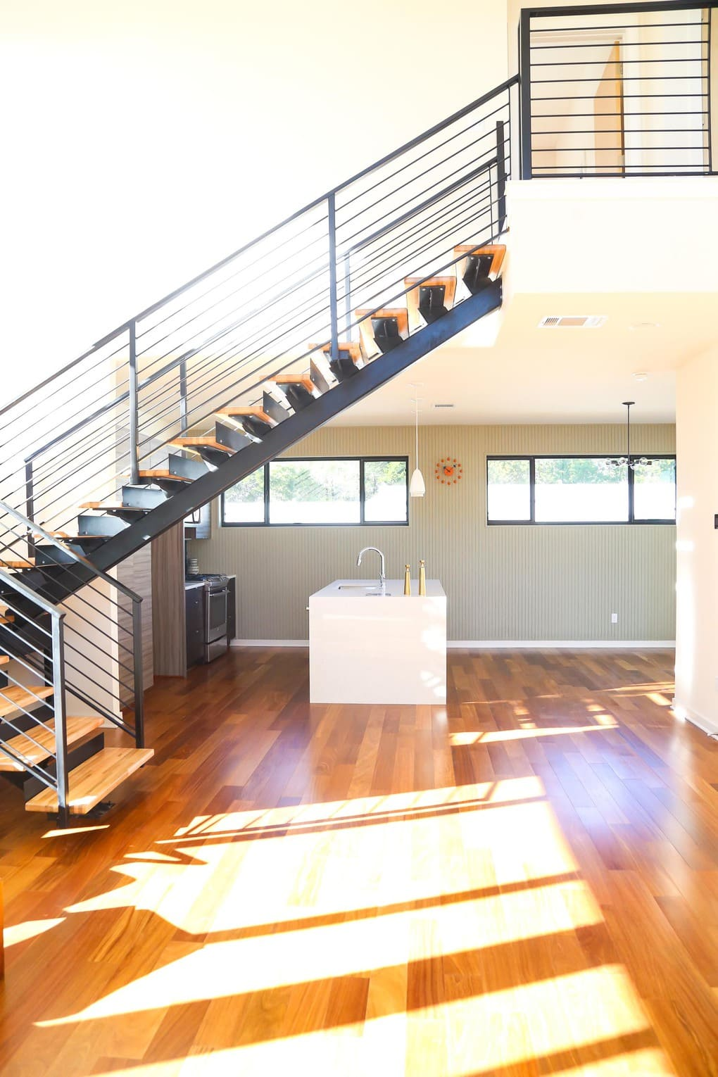Gorgeous staircase and open floor plan
