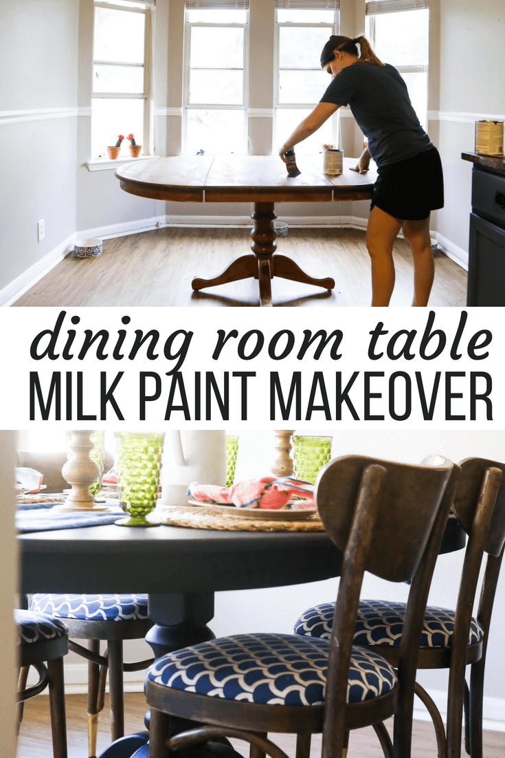 This painted dining room table is gorgeous and the makeover was done with milk paint
