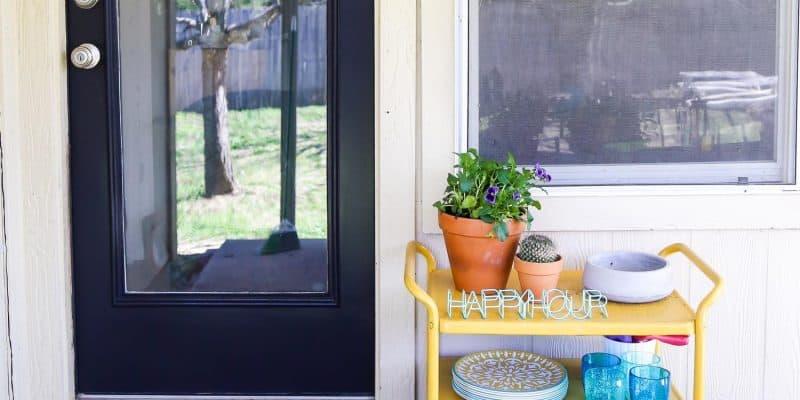 Exterior door painted black