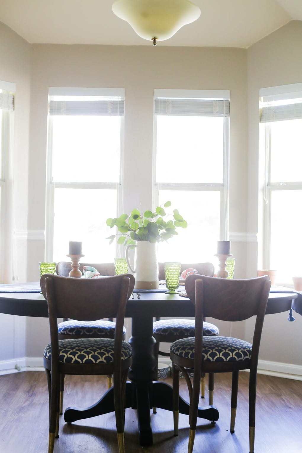 Painted dining room table with Rust-Oleum milk paint