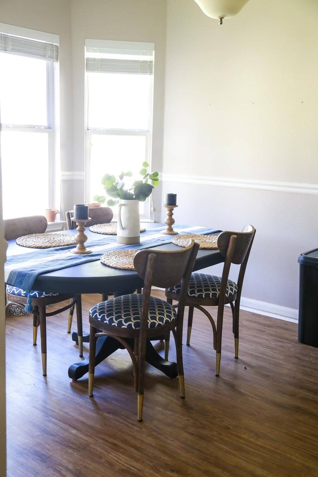 Dining table makeover with milk paint