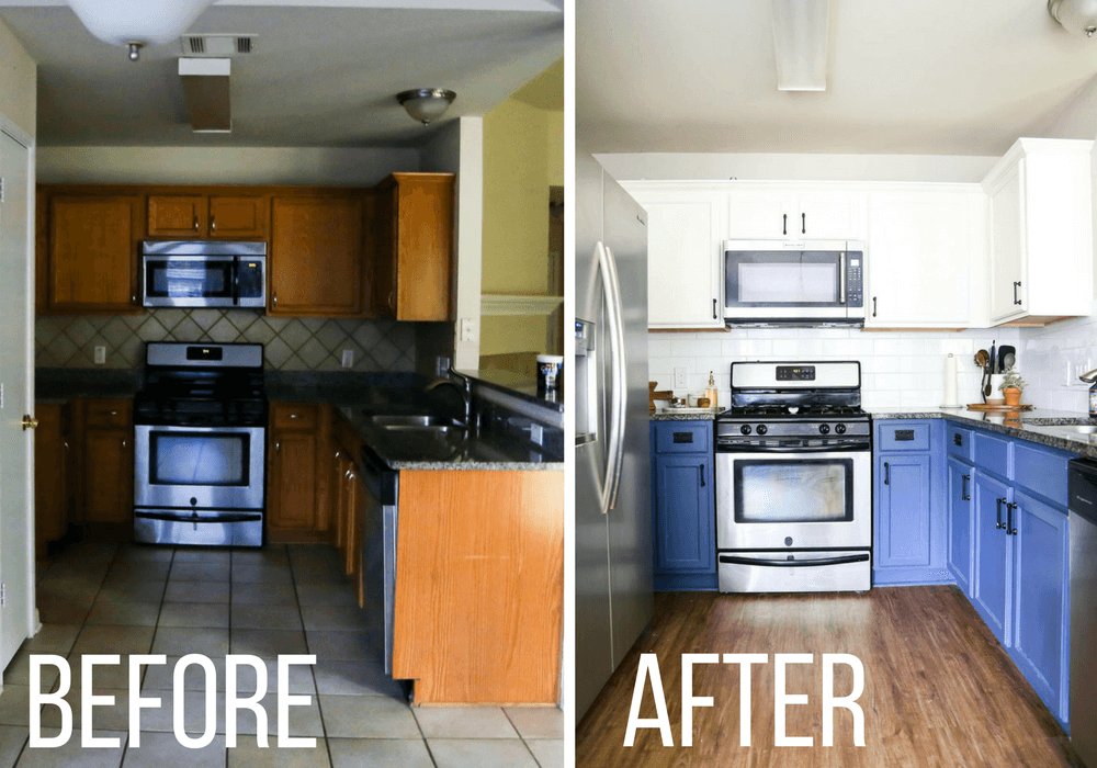 before and after of kitchen backsplash