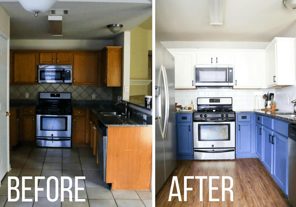 before and after of kitchen backsplash