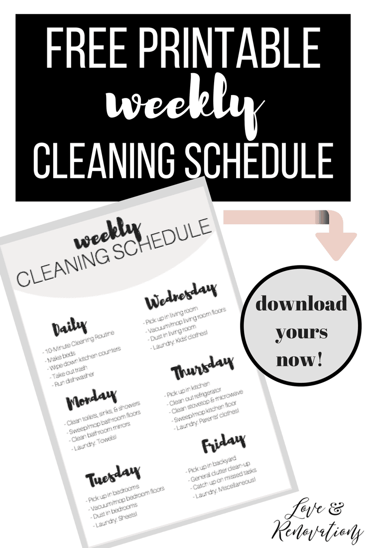 Free printable weekly cleaning schedule